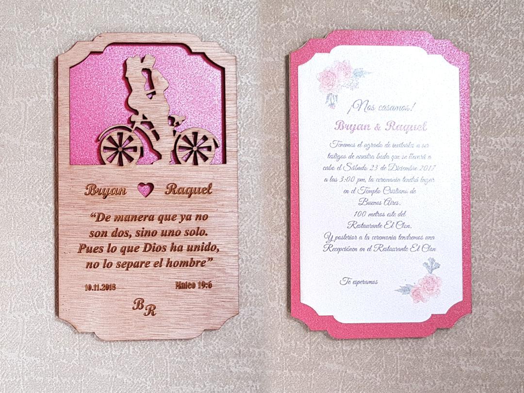 Invitación para bodas en madera con corte laser