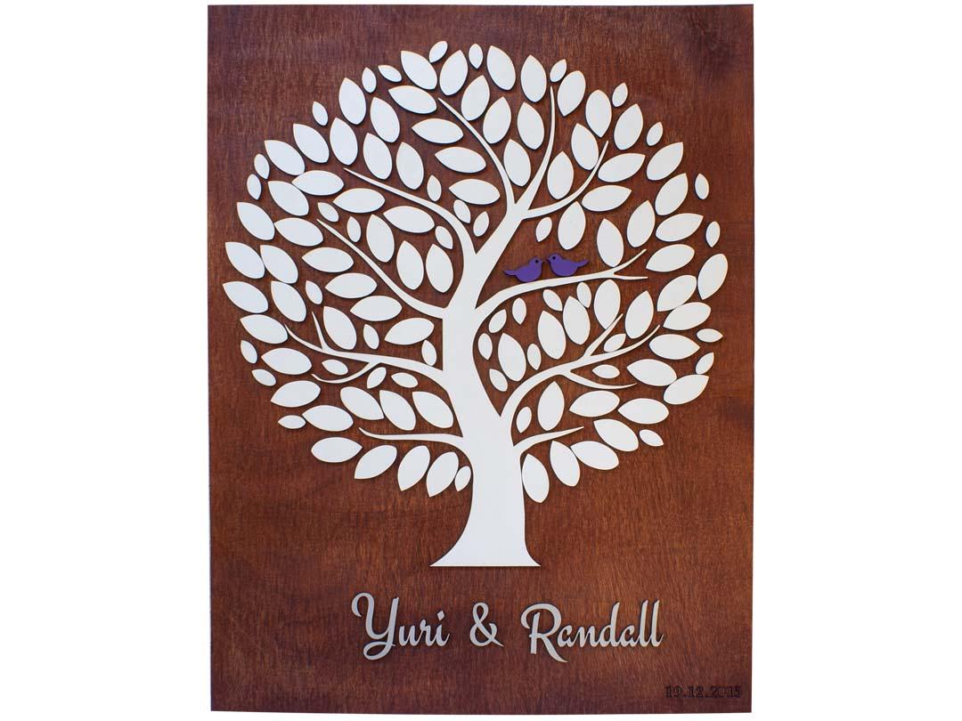 Cuadro para firmas y mensajes de boda modelo Yuri con lienzo en madera tono cristobal y detalles decorativos en blanco y azul